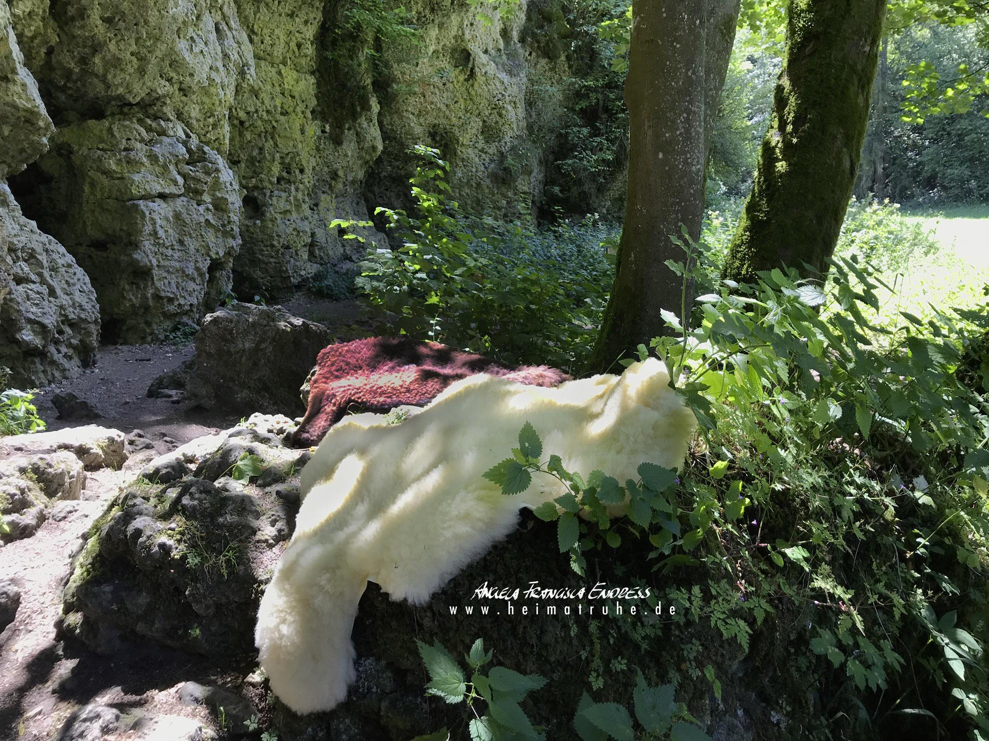 Schaffelle vor Felsen der Fränkischen Schweiz